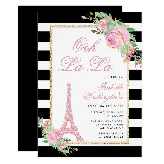 Flowers & Eiffel Tower Birthday Party Invitation