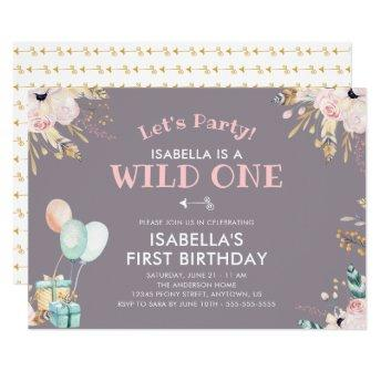 Flowers & Feathers, Wild One Girl's 1st Birthday Invitation