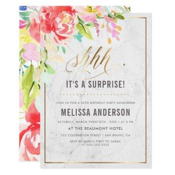 Flowers & Marble | Gold Surprise Birthday Party Invitation
