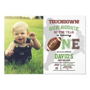Football Boy First Birthday Photo Rookie Of Year Invitation