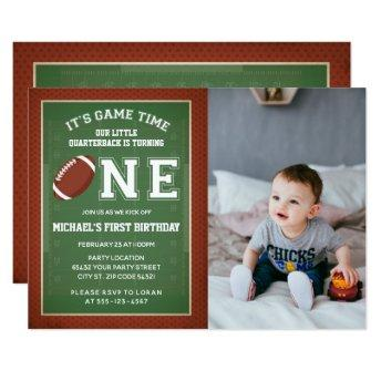 Football First Birthday Photo Invitation