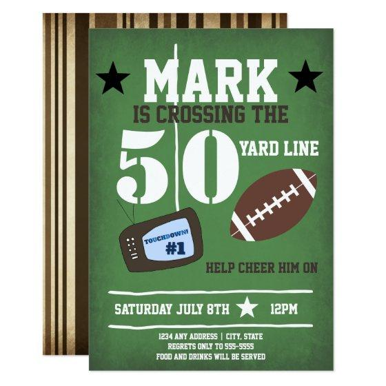 216 Football Themed 50th Birthday Invitation