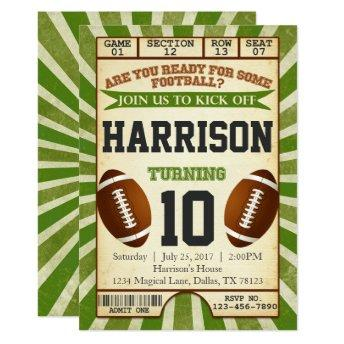 Football Ticket Birthday Party Invitation Invite