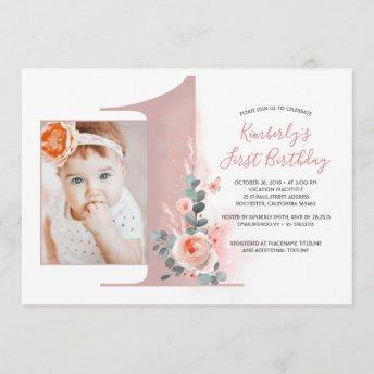 For Baby Girl | Pink 1st Birthday Party Photo Invitation