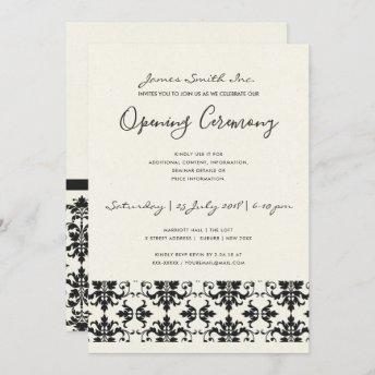 FORMAL BLACK WHITE DAMASK GRAND OPENING CEREMONY INVITATION