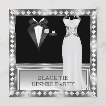 Formal Dinner Party White Black Tie Hollywood 2 Invitation
