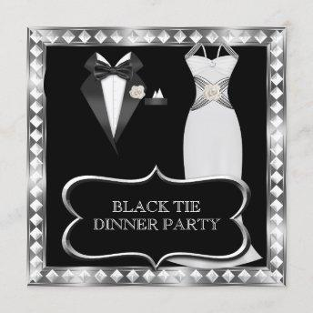 Formal Dinner Party White Black Tie Hollywood Invitation