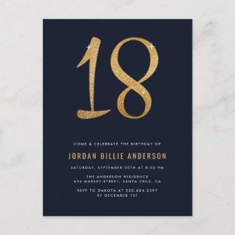 Formal Navy & Gold 18th Birthday Party Invitation