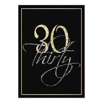 Formal Silver Black and Gold 30th Birthday Party