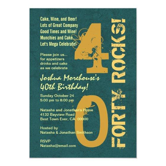 Forty Rocks 40th Birthday Green Gold Template Invitation