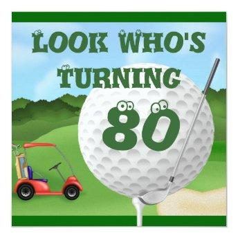 Fun Golf 80th Birthday Invitation TEMPLATE