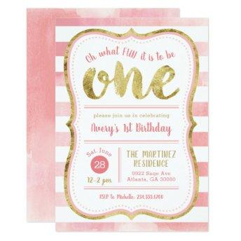 Fun to Be One Pink and Gold First Birthday Party Invitation