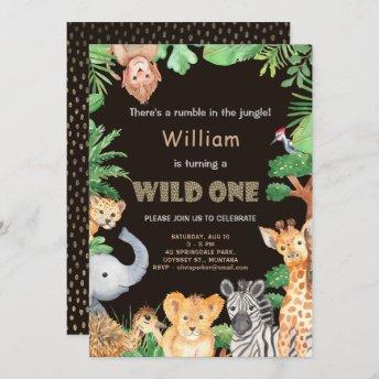 Fun Wild One Jungle Boy First Birthday Invitation