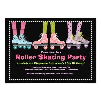 Funky Girls Roller Skating Birthday Party Invitation