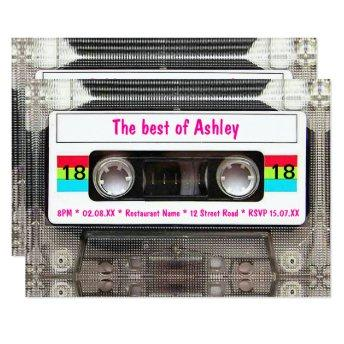 Funny DJ 80s Cassette Tape 18th Birthday Invitation
