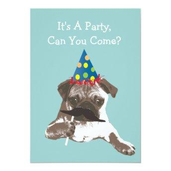 Funny Mustache Pug Birthday Party