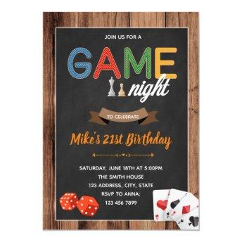 Game night birthday party invitation