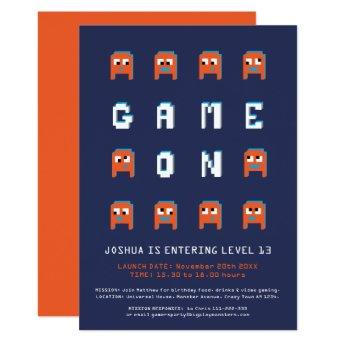 Game on orange monsters gamers birthday party invitation