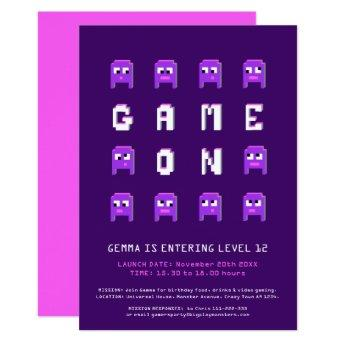 Game on purple girls gaming birthday party invitation