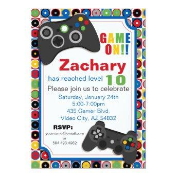 Game On! Video Game theme  Party Invitatio