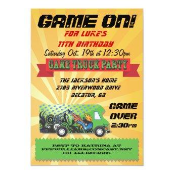 Game Truck Party Invitation