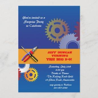 Gears and Tools Invitation
