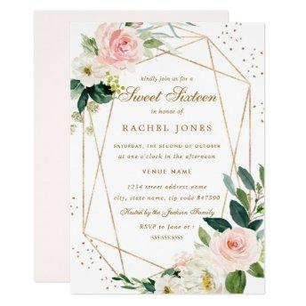 Geometric Blush Gold Floral Sweet Sixteen Invite