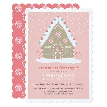 Gingerbread House Decorating Pink Birthday Party Invitation