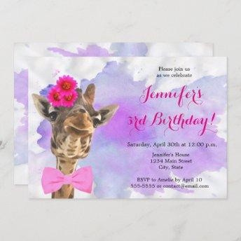 Giraffe animal jungle watercolor happy birthday invitation