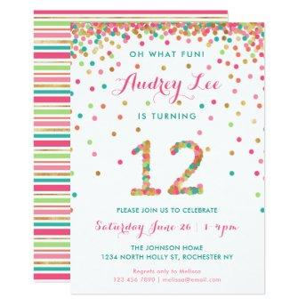 Girl 12th Birthday Invitation Twelfth