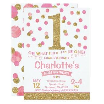 Girl 1st Birthday  Pink & Gold Confetti
