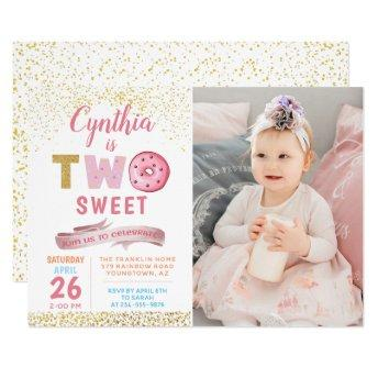 Girl 2nd Birthday Invitation Two Sweet Donut Photo