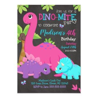 Girl Dinosaur Birthday Invitation / Dino Party