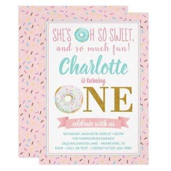 Girl Donut 1st Birthday Party Invitation