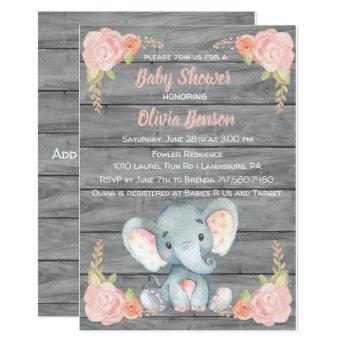 Girl Elephant Baby Shower Invitation