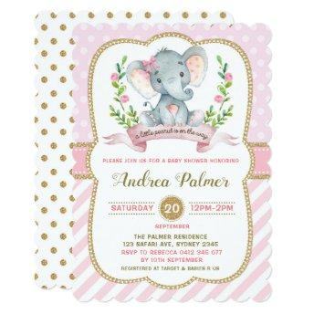 Girl Elephant Baby Shower Invitation Pink & Gold