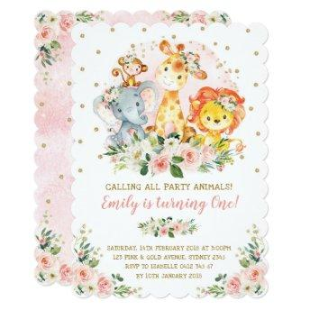 Girl Jungle Safari Animals Wild One 1st Birthday Invitation
