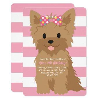 Girl Puppy Birthday Party II Invitation