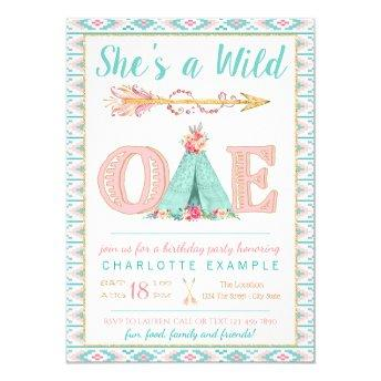 Girl Wild One Birthday Party Invitation