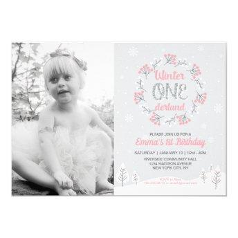 Girl Winter Onederland Photo 1st Birthday Invite