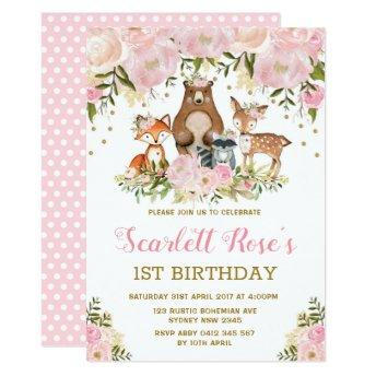 Girl Woodland 1st Birthday Pink Gold Floral Party Invitation