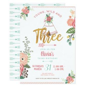 Girl Young Wild Three Boho Tribal Birthday Invite