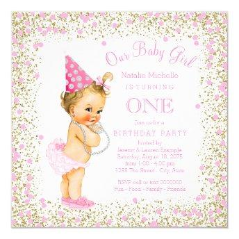 Girls 1st Birthday Party Pink Gold Glitter