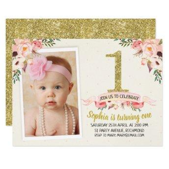 Girls Floral Faux Gold 1st Birthday