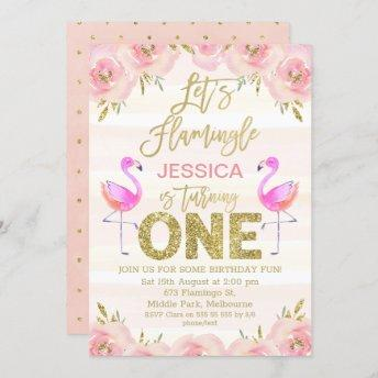 Girls floral flamingo first birthday invitation