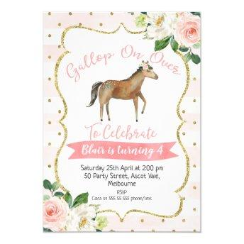 Girls Floral Horse Birthday Invitation