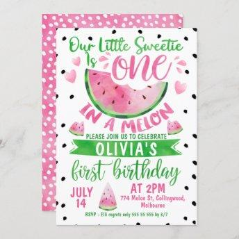 Girls Pink Green One In A Melon 1st Birthday Invitation