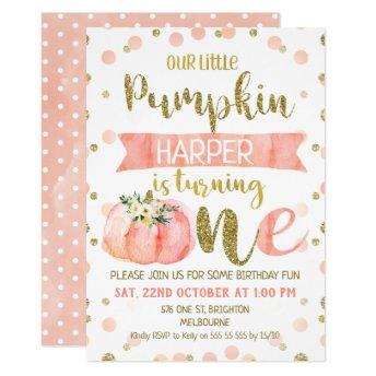 Girls Pink Pumpkin First Birthday Invitation
