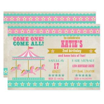 Girl's Pink Turquoise Gold Carousel Party