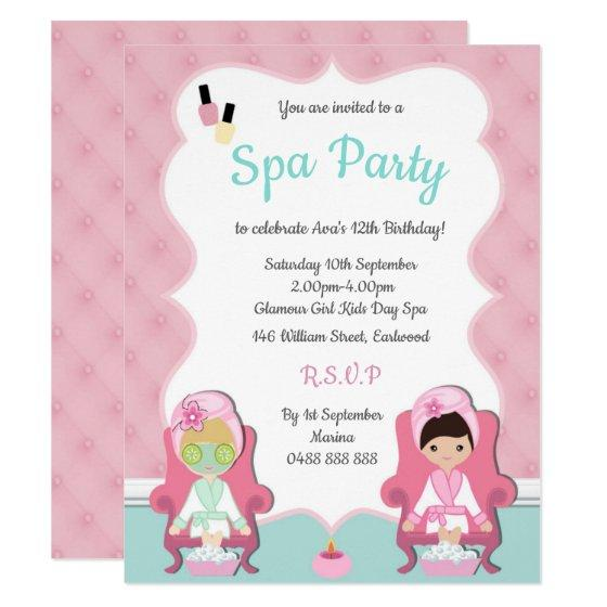 Girls Spa Invite Pamper Party Make Up Invitation Birthday